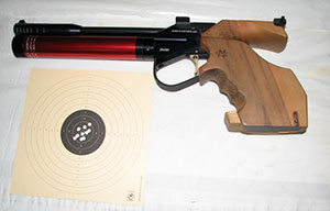 Air pistol with target.